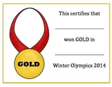 Winter Olympics Medal Certificates