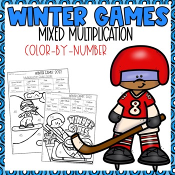 Winter Olympics Mixed Multiplication Color-By-Number