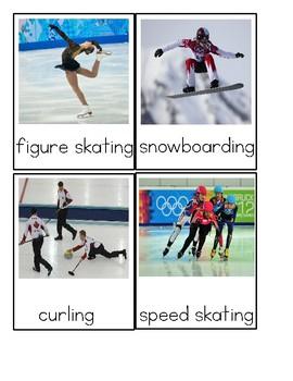 Winter Olympics - Montessori Three Part Cards - Reading Classification