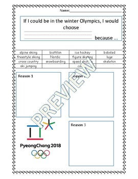 Winter Olympics Opinion Writing Organizer and Template
