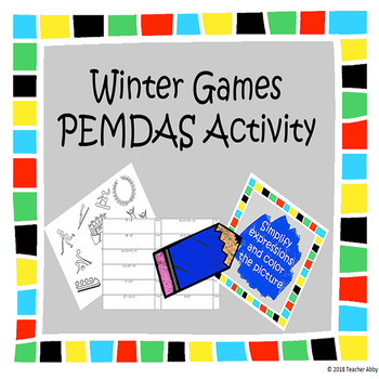 Winter Games Order of Operations (PEMDAS) Coloring Page Activity