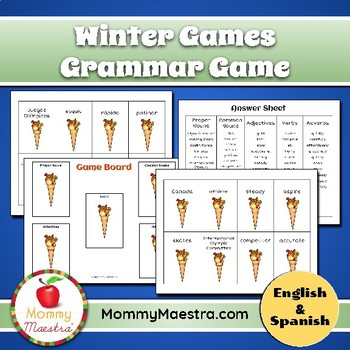 Winter Olympics Parts of Speech Game (Bilingual)