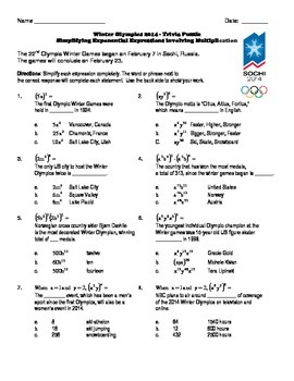 Winter Olympics Puzzle - Simplifying Exponential Expressions