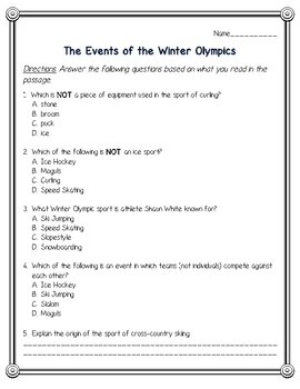 2018 Winter Olympics Reading Comprehension Pack--PyeongChang Olympic Games