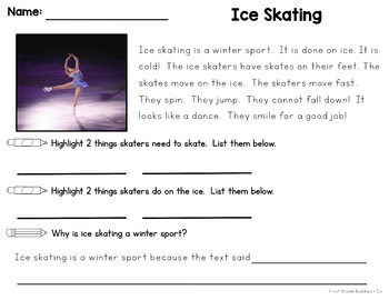 Winter Games | Reading Comprehension Passages and Questions | Text Evidence