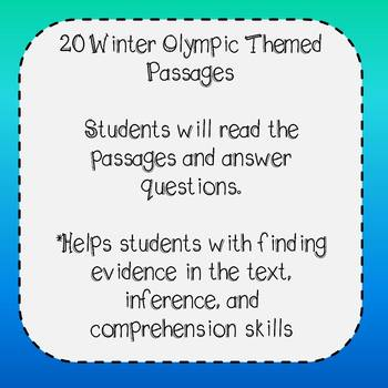 Winter Olympics Reading Comprehension Reading Passages and Questions