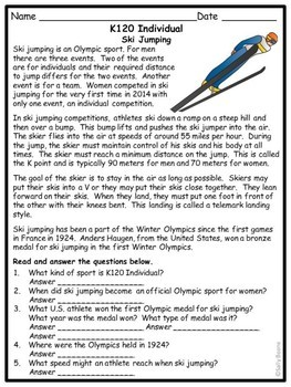 Winter Sports Informational Texts-Reading Comprehension and Writing