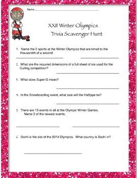 Winter Olympics Scavenger Hunt
