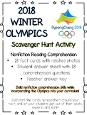 Winter Olympic Games Scavenger Hunt-Reading Comprehension Activity-Olympics 2018