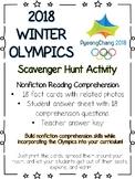 Winter Olympic Games Scavenger Hunt-Reading Comprehension