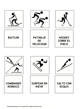 Spanish Winter Olympic Sports Themed Flash-cards & Games