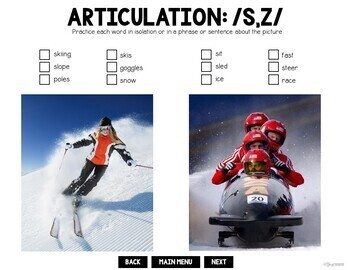 Winter Sports Speech and Language Interactive PDF Print or No Print