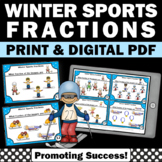 Fraction Task Cards 3rd Grade 2nd Grade for Winter Sports