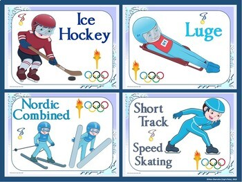 Winter Olympic Sports Display: 15 Sport- Full Page and Quarter Page Visuals