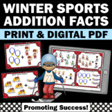 Addition with Pictures, Winter Sports Theme, Kindergarten Math Review SCOOT