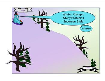 Winter Olympics Story Problems Snowman Slide Activity
