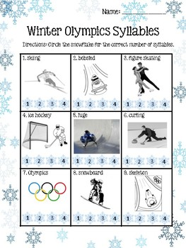 Winter Olympics Syllables