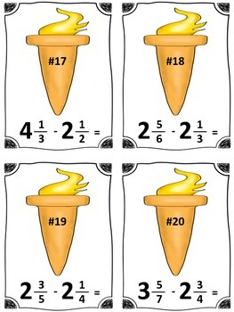 Winter Sports Torch Mixed Number Subtraction Math Center (Common Core)