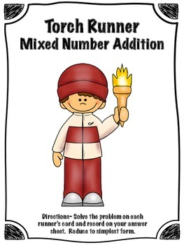Winter Sports Torch Runner Mixed Number Addition Math Cent