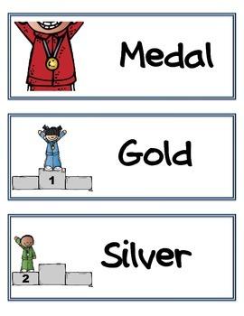 Winter Olympics: Vocabulary Cards (Word Wall)