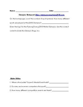 Winter Olympics Webquest- PyeongChang 2018 & Medal Predictions