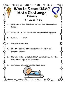 Winter Olympics - Who is Team USA Math Challenge FREEBIE