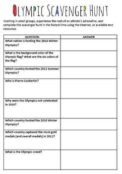 Sochi 2014 Winter Games Scavenger Hunt