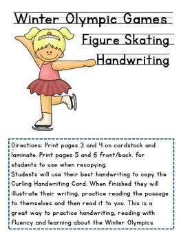 Winter Olympics, Figure Skating Handwriting