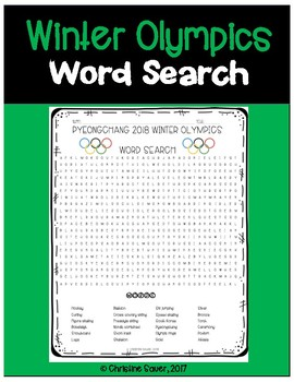Winter Olympics Word Search Activity