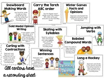 Winter games literacy centers