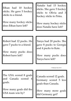 Winter Olympics math addition and subtraction worded problems 1st 2nd Sochi 2014