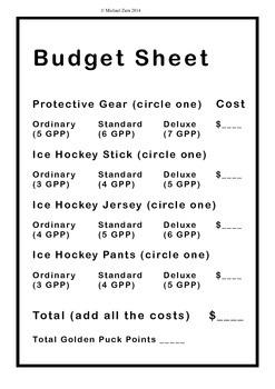 Winter Olympics math budget activity II: Quest for the Golden Puck Sochi 2014