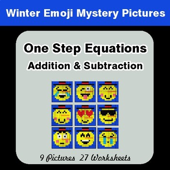 Winter: One Step Equation - Addition & Subtraction - Mystery Pictures