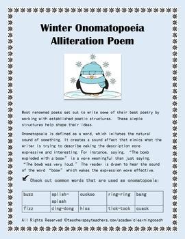 Winter Onomatopoeia Alliteration Poem: Seasonal Poetry
