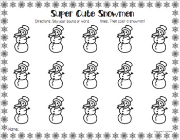 Winter Open-Ended Articulation Worksheets for Speech Therapy