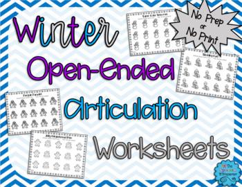 No Prep, Open Ended Articulation Worksheets for Winter