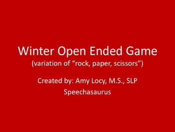 Winter Open Ended Reinforcer Game