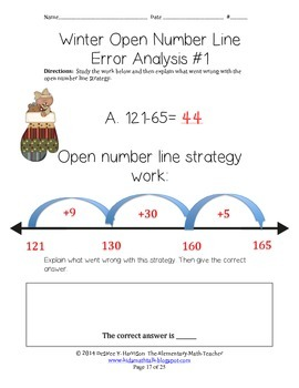 Winter Open Number Line Strategy Work - Subtraction Edition