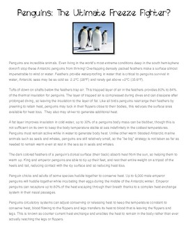 Winter Opinion Writing (2 text sources) Penguins Vs. Polar Bears