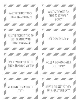 Winter Opinion Writing Packet with Writing Prompt Cards and Handwriting Paper