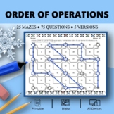 Winter: Order of Operations Maze Activity Sets - Distance Learning Compatible