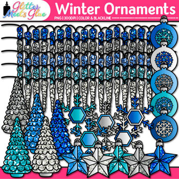 Winter Ornaments Clip Art {Christmas Tree, Ornaments, Snowflakes, Icicle Lights}