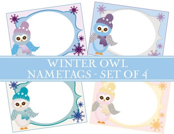 Winter Owl Nametags