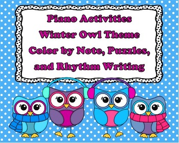 Winter Owl Set 1 - Color by Note, Puzzles, and Rhythm Writing