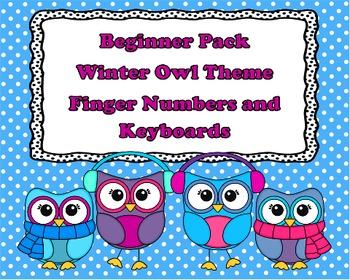 Winter Owl Set 2 - Beginner Set - Finge Numbers and Keyboards
