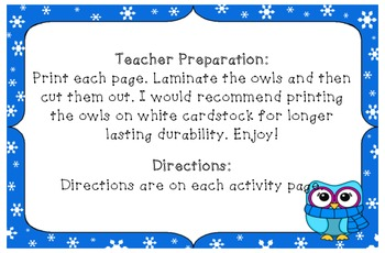 Winter Owl Theme Differentiated Number Activities (Numbers 0-5)