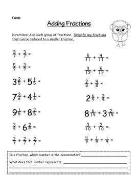 Winter Owl Themed Adding Fractions With Like Denominators