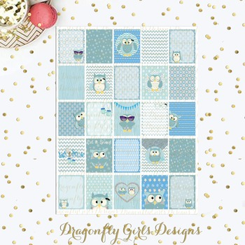 Winter Owls 25 Squares Large Boxes Printable Planner Stickers