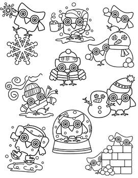Winter Owls Clipart