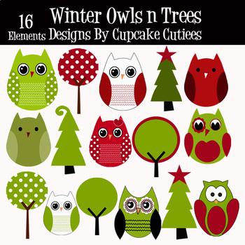Winter Owls Birds and Trees Digital Clip Art Elements